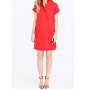 J. Crew NWT Cotton Shirt Dress Red Medium
